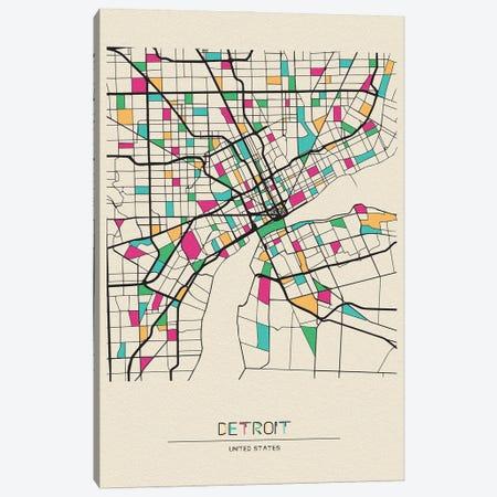 Detroit, Michigan Map Canvas Print #ADA217} by Ayse Deniz Akerman Canvas Art Print