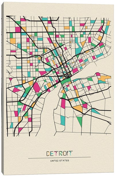Detroit, Michigan Map Canvas Art Print