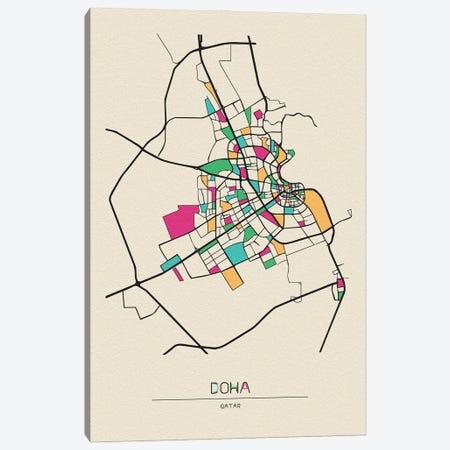 Doha, Qatar Map Canvas Print #ADA218} by Ayse Deniz Akerman Canvas Art
