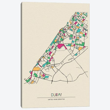 Dubai, United Arab Emirates Map 3-Piece Canvas #ADA220} by Ayse Deniz Akerman Art Print