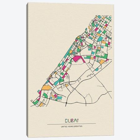 Dubai, United Arab Emirates Map Canvas Print #ADA220} by Ayse Deniz Akerman Art Print