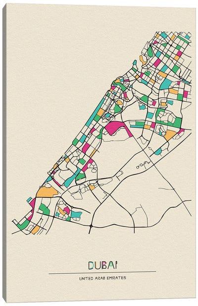 Dubai, United Arab Emirates Map Canvas Art Print
