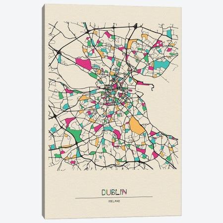 Dublin, Ireland Map 3-Piece Canvas #ADA221} by Ayse Deniz Akerman Canvas Art Print