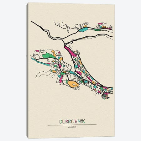 Dubrovnik, Croatia Map Canvas Print #ADA222} by Ayse Deniz Akerman Art Print
