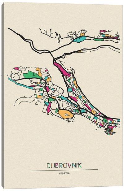 Dubrovnik, Croatia Map Canvas Art Print