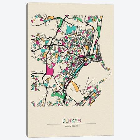Durban, South Africa Map Canvas Print #ADA223} by Ayse Deniz Akerman Canvas Print