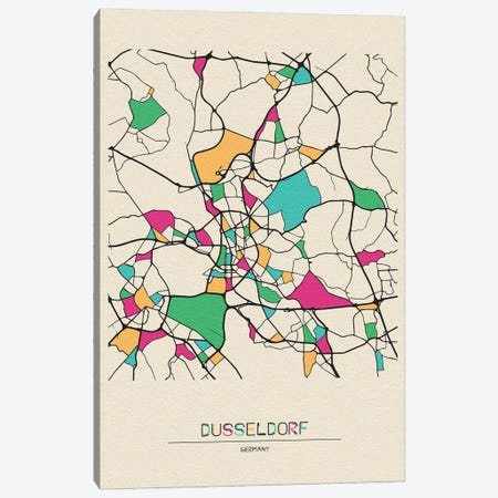Dusseldorf, Germany Map Canvas Print #ADA225} by Ayse Deniz Akerman Canvas Artwork