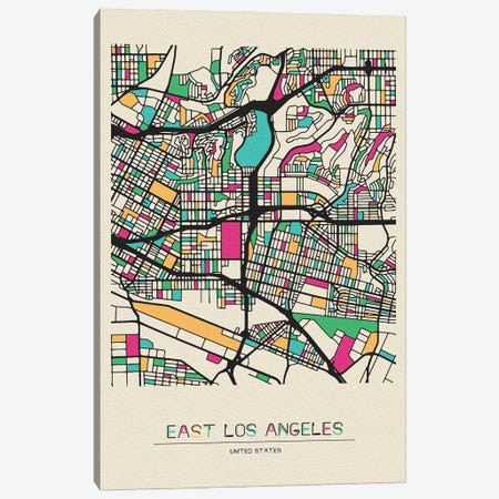 East Los Angeles, California Map Canvas Print #ADA226} by Ayse Deniz Akerman Canvas Artwork