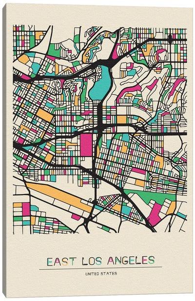 East Los Angeles, California Map Canvas Art Print