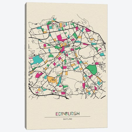 Edinburgh, Scotland Map Canvas Print #ADA227} by Ayse Deniz Akerman Canvas Art
