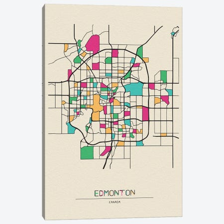 Edmonton, Canada Map Canvas Print #ADA228} by Ayse Deniz Akerman Canvas Print