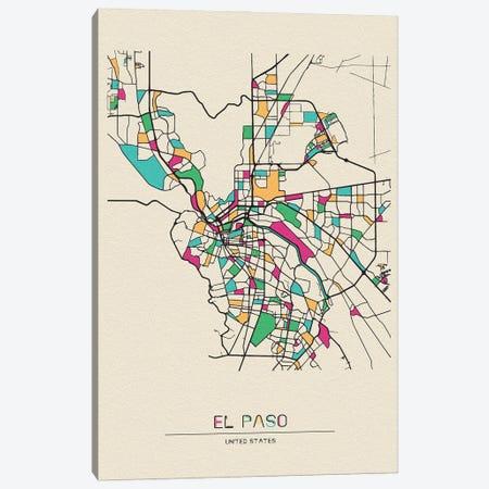El Paso, Texas Map Canvas Print #ADA229} by Ayse Deniz Akerman Canvas Art Print
