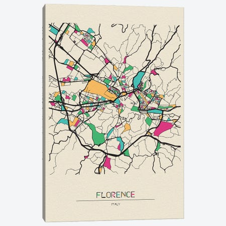 Florence, Italy Map Canvas Print #ADA230} by Ayse Deniz Akerman Canvas Wall Art