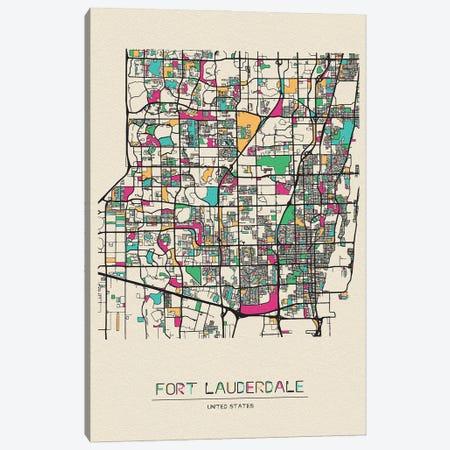 Fort Lauderdale, Florida Map Canvas Print #ADA231} by Ayse Deniz Akerman Canvas Artwork