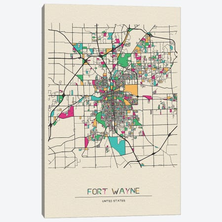 Fort Wayne, Indiana Map Canvas Print #ADA232} by Ayse Deniz Akerman Canvas Wall Art