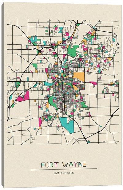 Fort Wayne, Indiana Map Canvas Art Print