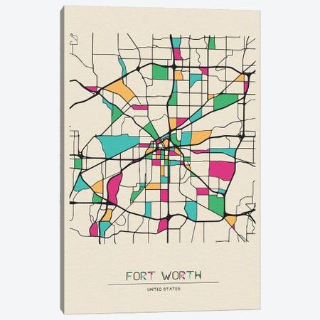 Fort Worth, Texas Map Canvas Print #ADA233} by Ayse Deniz Akerman Canvas Artwork