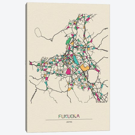 Fukuoka, Japan Map Canvas Print #ADA236} by Ayse Deniz Akerman Art Print