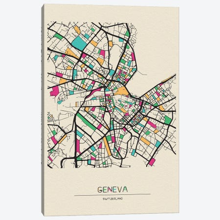 Geneva, Switzerland Map Canvas Print #ADA237} by Ayse Deniz Akerman Canvas Art Print