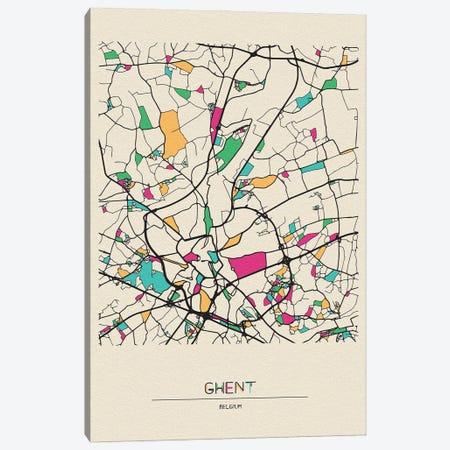 Ghent, Belgium Map Canvas Print #ADA239} by Ayse Deniz Akerman Canvas Wall Art