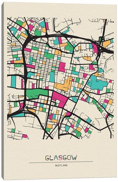 Glasgow, Scotland Map Canvas Art Print