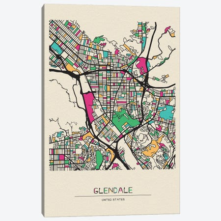 Glendale, California Map Canvas Print #ADA241} by Ayse Deniz Akerman Art Print