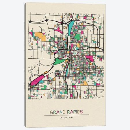 Grand Rapids, Michigan Map Canvas Print #ADA242} by Ayse Deniz Akerman Canvas Print