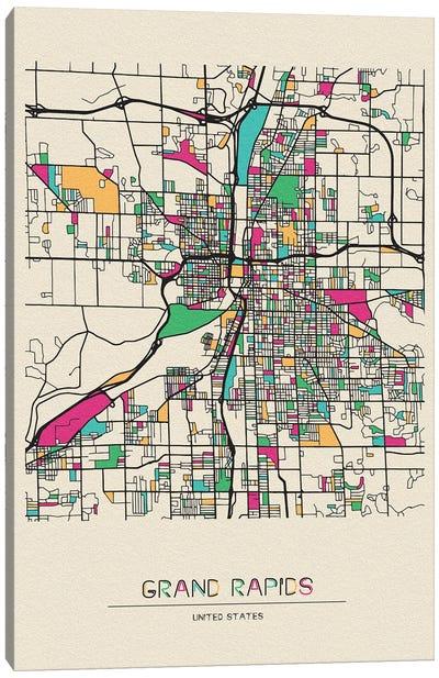 Grand Rapids, Michigan Map Canvas Art Print