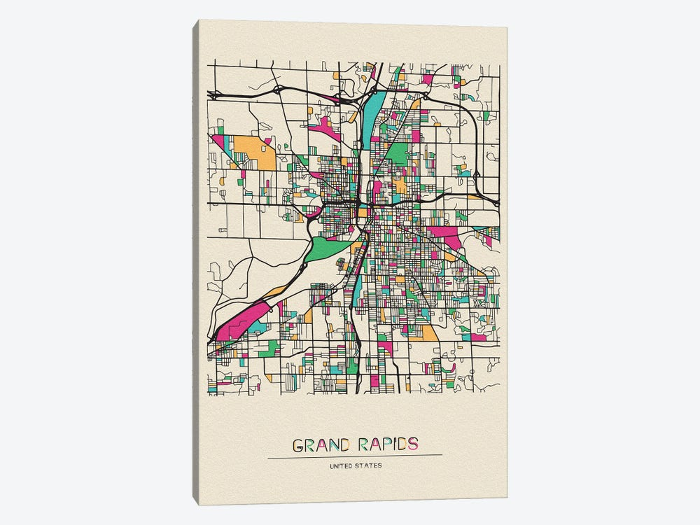Grand Rapids Michigan Map Canvas Artwork By Ayse Deniz Akerman Icanvas