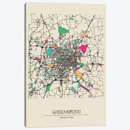 Greensboro, North Carolina Map Canvas Print #ADA243} by Ayse Deniz Akerman Canvas Print