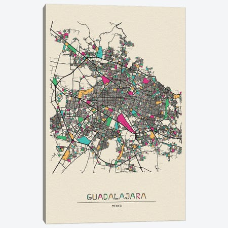 Guadalajara, Mexico Map Canvas Print #ADA244} by Ayse Deniz Akerman Canvas Artwork