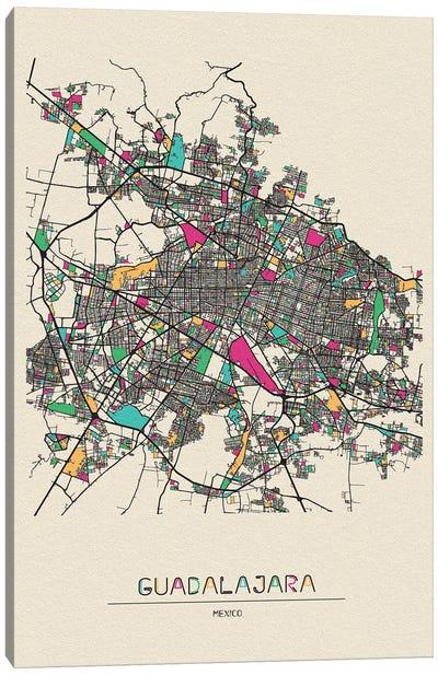 Guadalajara, Mexico Map Canvas Art Print
