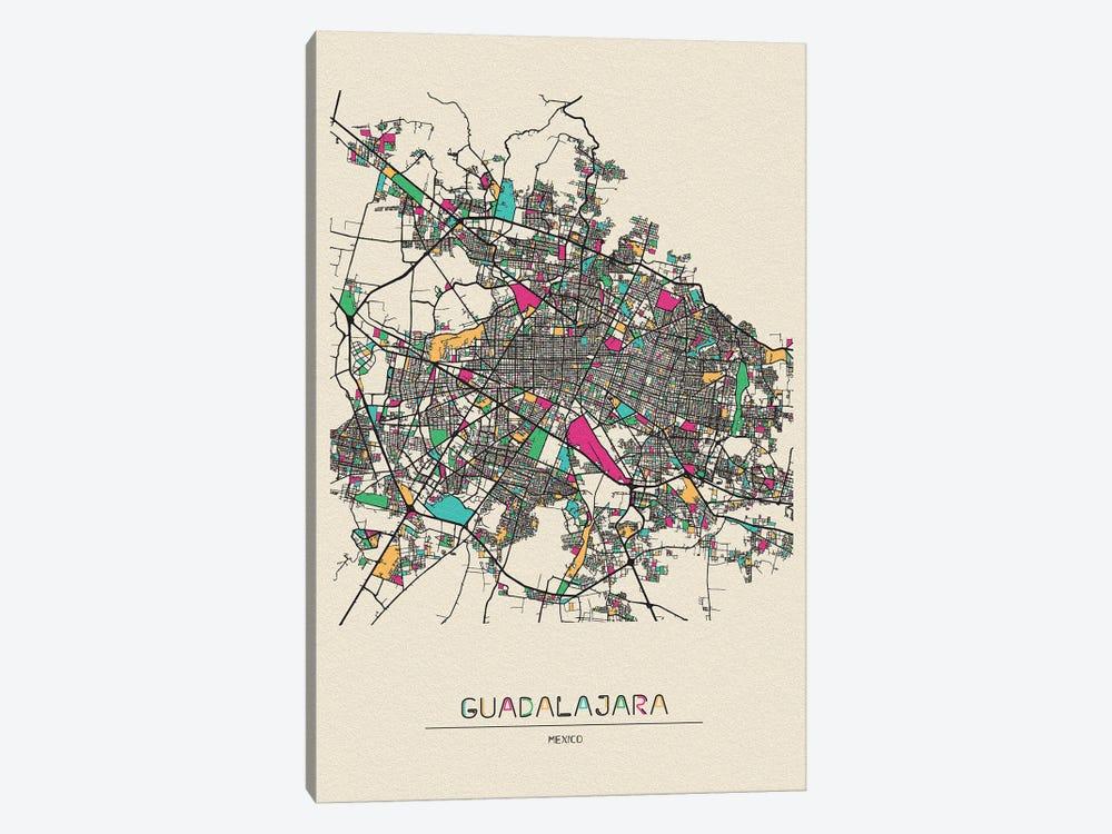 Guadalajara, Mexico Map by Ayse Deniz Akerman 1-piece Canvas Artwork