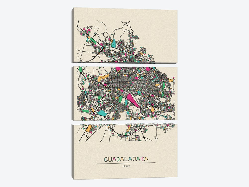 Guadalajara, Mexico Map by Ayse Deniz Akerman 3-piece Canvas Art