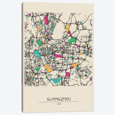 Guangzhou, China Map Canvas Print #ADA245} by Ayse Deniz Akerman Canvas Wall Art
