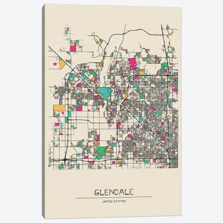 Glendale, Arizona City Map Canvas Print #ADA246} by Ayse Deniz Akerman Canvas Artwork