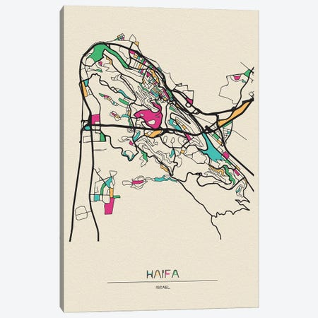 Haifa, Israel Map 3-Piece Canvas #ADA247} by Ayse Deniz Akerman Canvas Wall Art