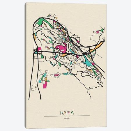 Haifa, Israel Map Canvas Print #ADA247} by Ayse Deniz Akerman Canvas Wall Art