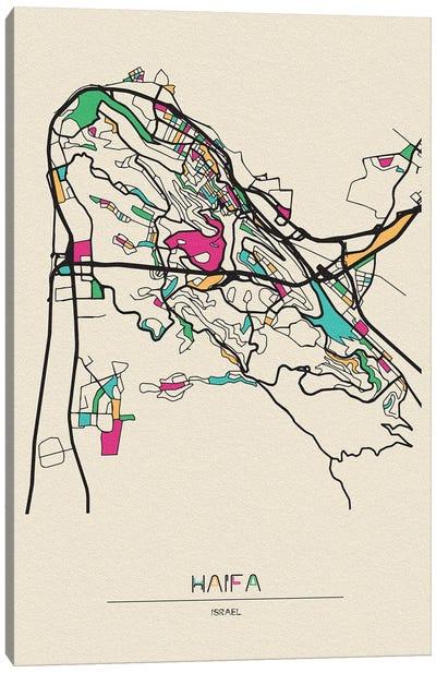 Haifa, Israel Map Canvas Art Print