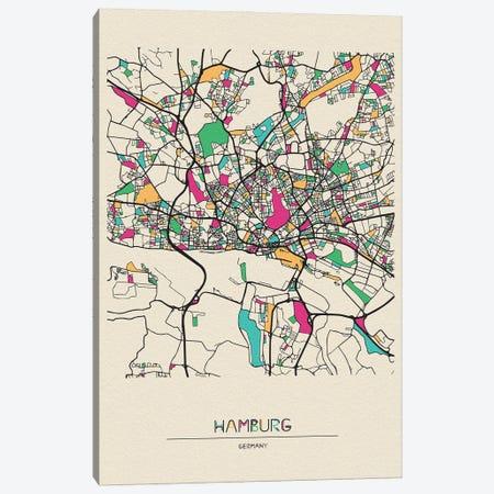 Hamburg, Germany Map Canvas Print #ADA249} by Ayse Deniz Akerman Art Print