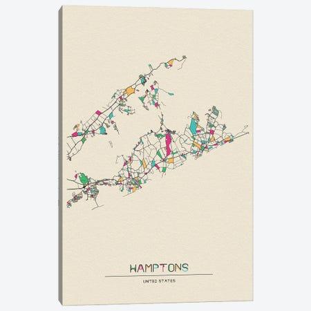 The Hamptons, Long Island Map Canvas Print #ADA250} by Ayse Deniz Akerman Canvas Artwork