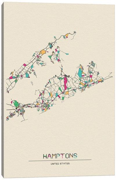 The Hamptons, Long Island Map Canvas Art Print