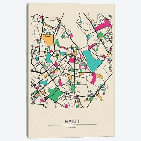Hanoi, Vietnam Map Canvas Print #ADA251} by Ayse Deniz Akerman Canvas Wall Art