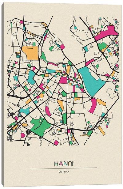Hanoi, Vietnam Map Canvas Art Print