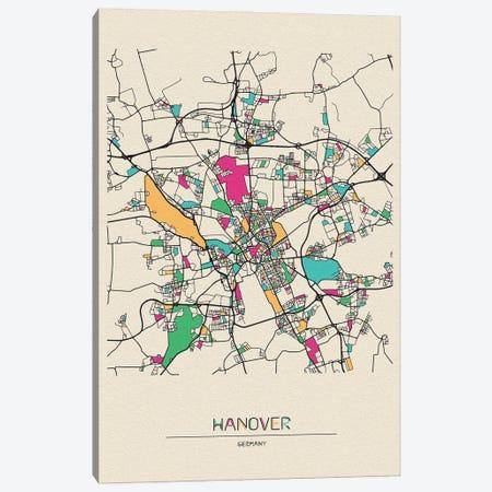 Hanover, Germany Map Canvas Print #ADA252} by Ayse Deniz Akerman Canvas Art