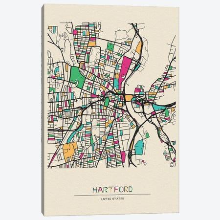 Hartford, Connecticut Map Canvas Print #ADA253} by Ayse Deniz Akerman Canvas Artwork