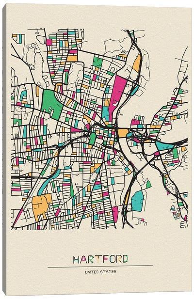 Hartford, Connecticut Map Canvas Art Print