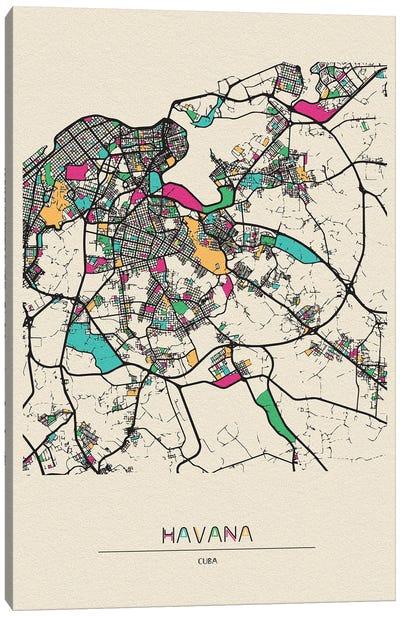 Havana, Cuba Map Canvas Art Print