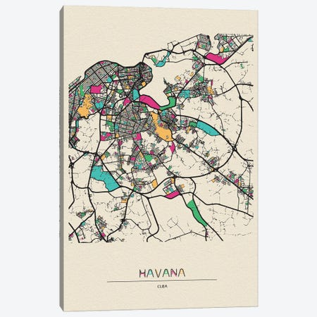 Havana, Cuba Map Canvas Print #ADA254} by Ayse Deniz Akerman Canvas Print