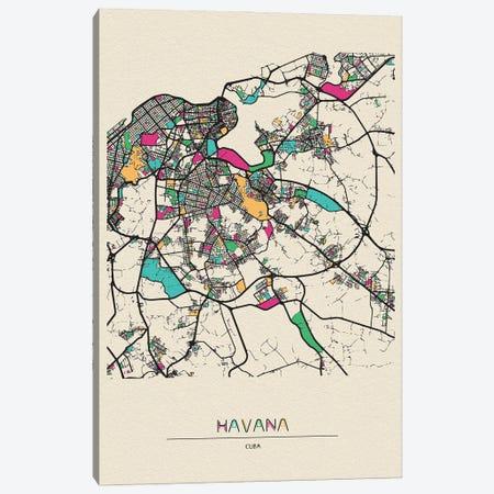 Havana, Cuba Map Canvas Print #ADA254} by Ayse Deniz Akerman Canvas Print
